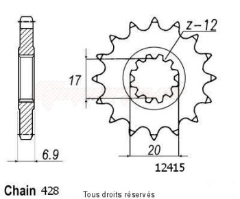 Product image: Sifam - 12415CZ13 - Sprocket Hrd 50 Type 428   12415cz   13 teeth   TYPE : 428