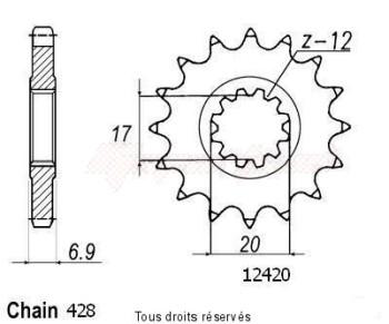 Product image: Sifam - 12420CZ12 - Sprocket Beta 50 Type 428   12420cz   12 teeth   TYPE : 428