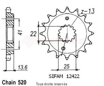 Product image: Sifam - 12422CZ14 - Sprocket Xr 650 R 00-01   12422cz   14 teeth   TYPE : 520
