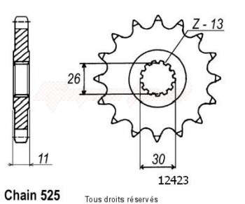 Product image: Sifam - 12423CZ16 - Sprocket Tdm 900 02-   12423cz   16 teeth   TYPE : 525