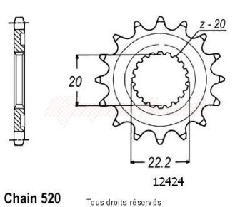Product image: Sifam - 12424CZ13 - Sprocket Yamaha Yzf/Wrf 250 01-0   12424cz   13 teeth   TYPE : 520