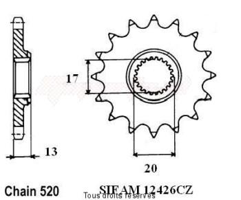 Product image: Sifam - 12426CZ13 - Sprocket Tm 125 Cross      13 teeth   TYPE : 520