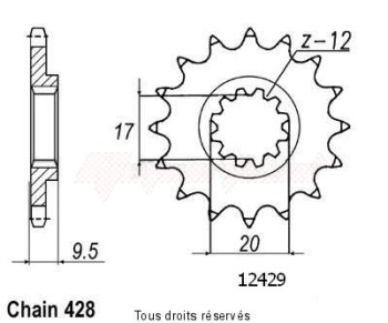 Product image: Sifam - 12429CZ14 - Sprocket KTM 85 Left  03-05   12429cz   14 teeth   TYPE : 428