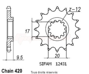 Product image: Sifam - 12431CZ12 - Sprocket KTM 60/65 Left  98-02   12431cz   12 teeth   TYPE : 420
