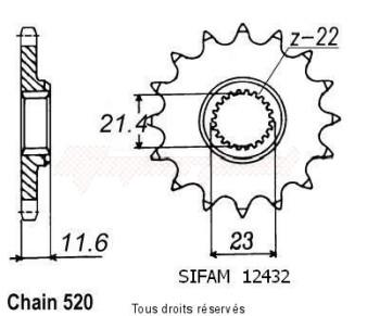 Product image: Sifam - 12432CZ14 - Sprocket Yamaha 250 Ttr 93-04   12432cz   14 teeth   TYPE : 520