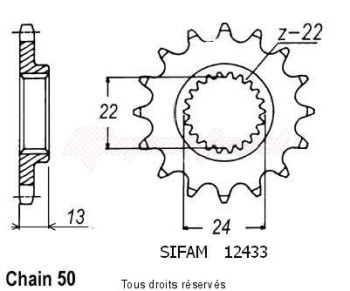 Product image: Sifam - 12433CZ16 - Sprocket Bombardier 650 Ds 00-04   12433cz   16 teeth   TYPE : 530