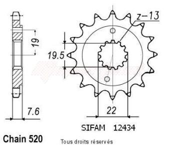 Product image: Sifam - 12434CZ14 - Sprocket Quad 400 Kfx/Ltz   12434cz   14 teeth   TYPE : 520