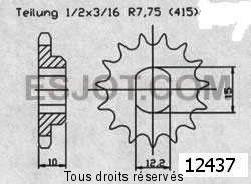 Product image: Sifam - 12437CZ11 - Sprocket KTM 50 Left  Pro 01-03   12437cz   11 teeth   TYPE : 415