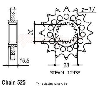 Product image: Sifam - 12438CZ16 - Sprocket KTM 950 Adventure 03-   12438cz   16 teeth   TYPE : 525