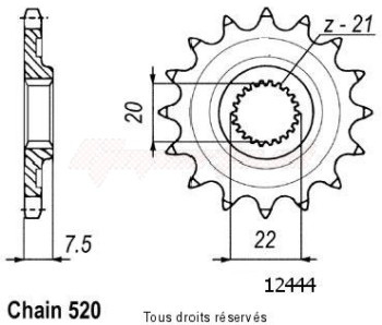 Product image: Sifam - 12444CZ13 - Sprocket Crf 250 X/R 04- 125 Cr 04- 12444cz   13 teeth   TYPE : 520