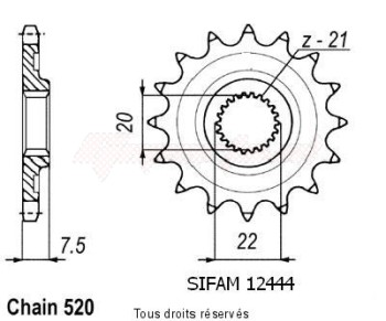 Product image: Sifam - 12444CZ14 - Sprocket Crf 250 X/R 04- 125 Cr 04- 12444cz   14 teeth   TYPE : 520