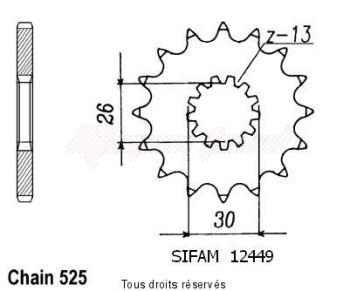 Product image: Sifam - 12449CZ18 - Sprocket Triumph 865 Bonneville      18 teeth   TYPE : 525