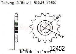 Product image: Sifam - 12452CZ14 - Sprocket Yamaha Yfm 700 R 06-   12452cz   14 teeth   TYPE : 520