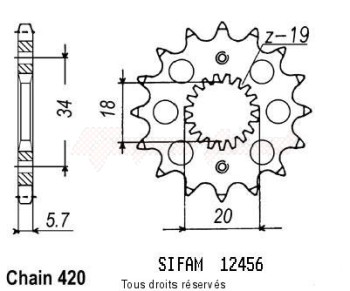 Product image: Sifam - 12456CZ15 - Sprocket Honda Cr-f 150 07   12456cz   15 teeth   TYPE : 420