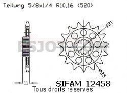 Product image: Sifam - 12458CZ16 - Sprocket Aprilia Rxv/Sxv   12458cz   16 teeth   TYPE : 520