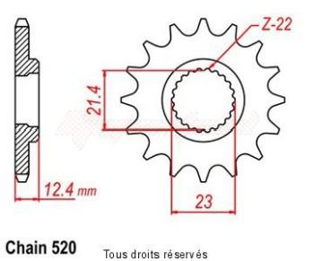 Product image: Sifam - 12467CZ14 - Sprocket Yamaha Yfm 250 Raptor      14 teeth   TYPE : 520