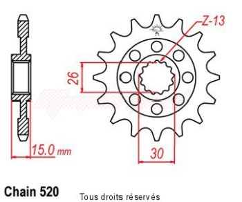 Product image: Sifam - 12469CZ17 - Sprocket BMW S1000 RR      17 teeth   TYPE : 520