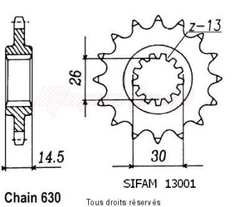 Product image: Sifam - 13001CZ15 - Sprocket Cb 750 Kz Rc01 79   13001cz   15 teeth
