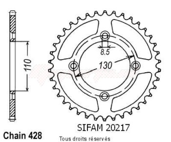 Product image: Sifam - 20217CZ49 - Chain wheel rear Honda 80 Cr 1986-2001 Type 428/Z49