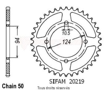 Product image: Sifam - 20219CZ37 - Chain wheel rear 550 Cbf 75-80   Type 530/Z37