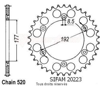 Product image: Sifam - 20223AZ53 - Chain wheel rear Husqvarna 125/250 Cr/Wr 85-87 Type 520/Z53