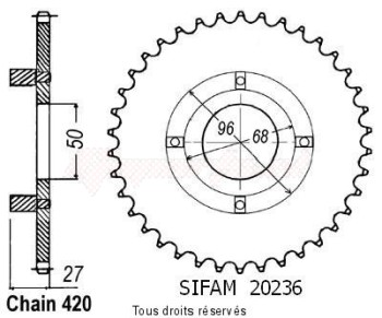 Product image: Sifam - 20236CZ38 - Chain wheel rear St 70 Dax 78-81 Cy 80 Type 420/Z38