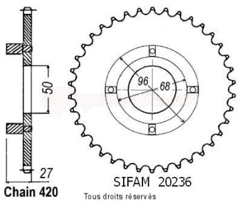 Product image: Sifam - 20236CZ42 - Chain wheel rear St 70 Dax Am/Nm Cy 80 Type 420/Z42