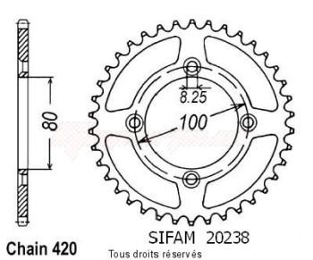 Product image: Sifam - 20238AZ47 - Chain wheel rear Honda Xr 80 85-01 Alu Type 420/Z47