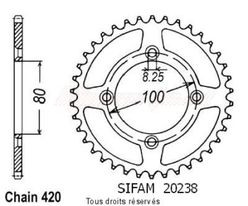 Product image: Sifam - 20238AZ49 - Chain wheel rear Honda Xr 80 85-01 Alu Type 420/Z49