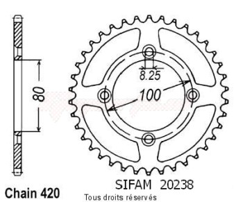 Product image: Sifam - 20238CZ36 - Chain wheel rear Honda Xr 70 91-03 Type 420/Z36