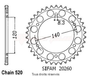 Product image: Sifam - 20260CZ38 - Chain wheel rear Xl 250 R 84-87   Type 520/Z38
