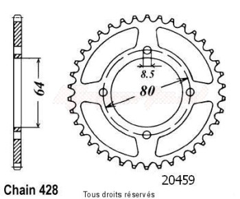 Product image: Sifam - 20459CZ45 - Chain wheel rear Ybr 125 06-   Type 428/Z45