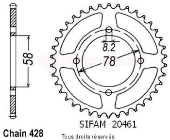 Product image: Sifam - 20461CZ41 - Chain wheel rear Gn 125 92-98   Type 428/Z41