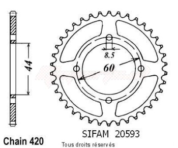 Product image: Sifam - 20593CZ42 - Chain wheel rear Dt 50 Mx 81-85 Ty 50 78-80 Type 420/Z42