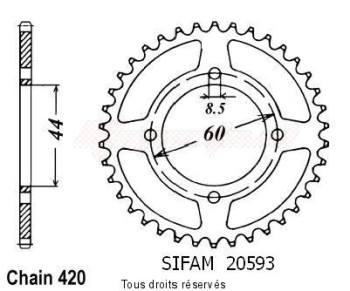 Product image: Sifam - 20593CZ43 - Chain wheel rear Ty 50 78-80   Type 420/Z43