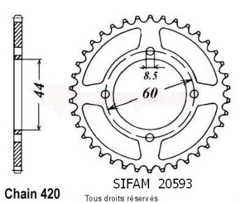 Product image: Sifam - 20593CZ44 - Chain wheel rear Ysr 50 86-92   Type 420/Z44