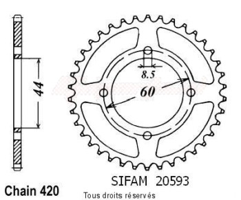 Product image: Sifam - 20593CZ45 - Chain wheel rear Dt 50 R 88-90 Dt 80 Mx 81-83 Type 420/Z45
