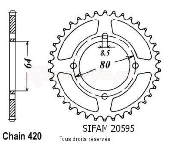 Product image: Sifam - 20595CZ35 - Chain wheel rear Tt-r 90 00-05   Type 420/Z35
