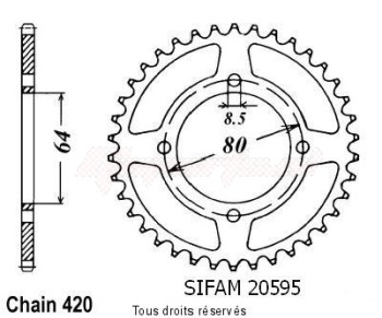 Product image: Sifam - 20595CZ41 - Chain wheel rear Rd 80 Mx 82-84   Type 420/Z41