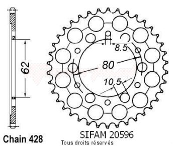 Product image: Sifam - 20596CZ37 - Chain wheel rear Dt 125 E 78-79   Type 428/Z37