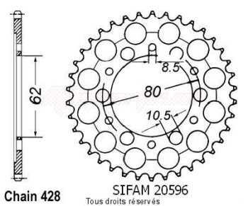Product image: Sifam - 20596CZ45 - Chain wheel rear Tw 200 87-98   Type 428/Z45