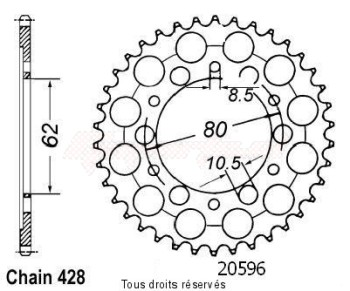 Product image: Sifam - 20596CZ50 - Tandwiel Achter Xt 125 91-94 45
