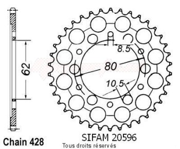 Product image: Sifam - 20596CZ52 - Chain wheel rear Xt 350 85-98   Type 428/Z52