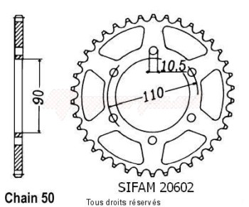 Product image: Sifam - 20602CZ33 - Chain wheel rear Xs 650 Se 78-83   Type 530/Z33