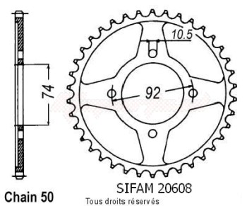 Product image: Sifam - 20608CZ39 - Chain wheel rear Rd 350 Lc 80-82   Type 530/Z39