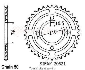 Product image: Sifam - 20621CZ36 - Chain wheel rear Xs 400 Se 80-81   Type 530/Z36