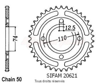 Product image: Sifam - 20621CZ39 - Chain wheel rear Rd 400 Dx Xs 400 C/S/Se Type 530/Z39