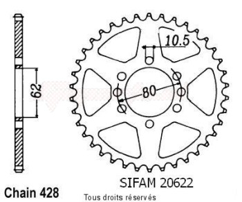 Product image: Sifam - 20622CZ49 - Chain wheel rear Dt 125 Mx/Lc 78-83   Type 428/Z49
