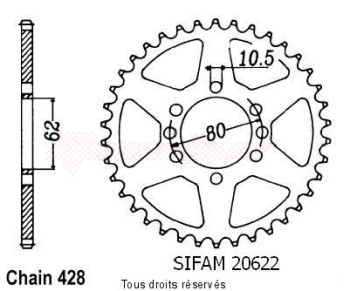 Product image: Sifam - 20622CZ50 - Chain wheel rear Dt 125 Lc 85-88 Dt 125 Tenere 88-92 Type 428/Z50