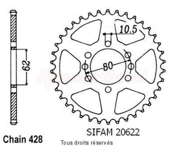 Product image: Sifam - 20622CZ53 - Chain wheel rear Dt 125 Lc 84   Type 428/Z53
